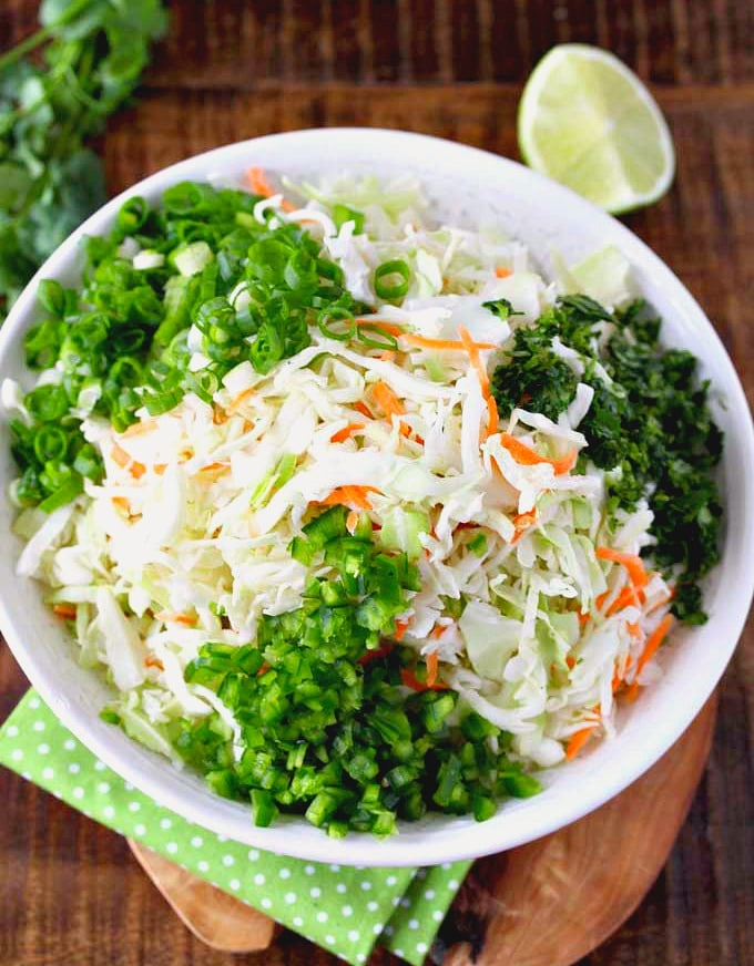Ingredients to make this coleslaw recipe in a bowl.