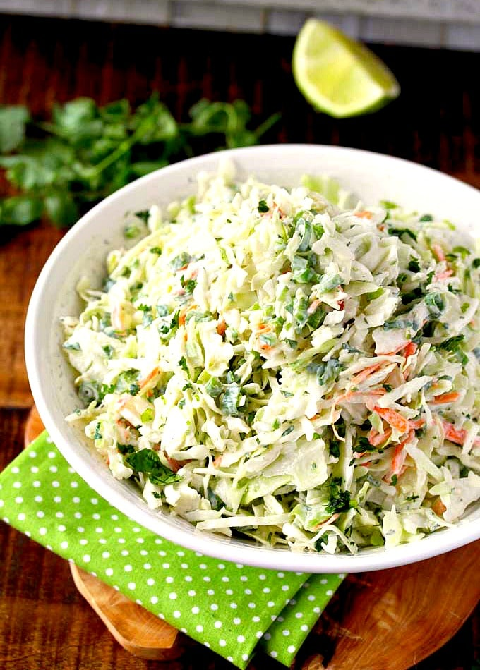 Creamy Cole slaw on a white bowl