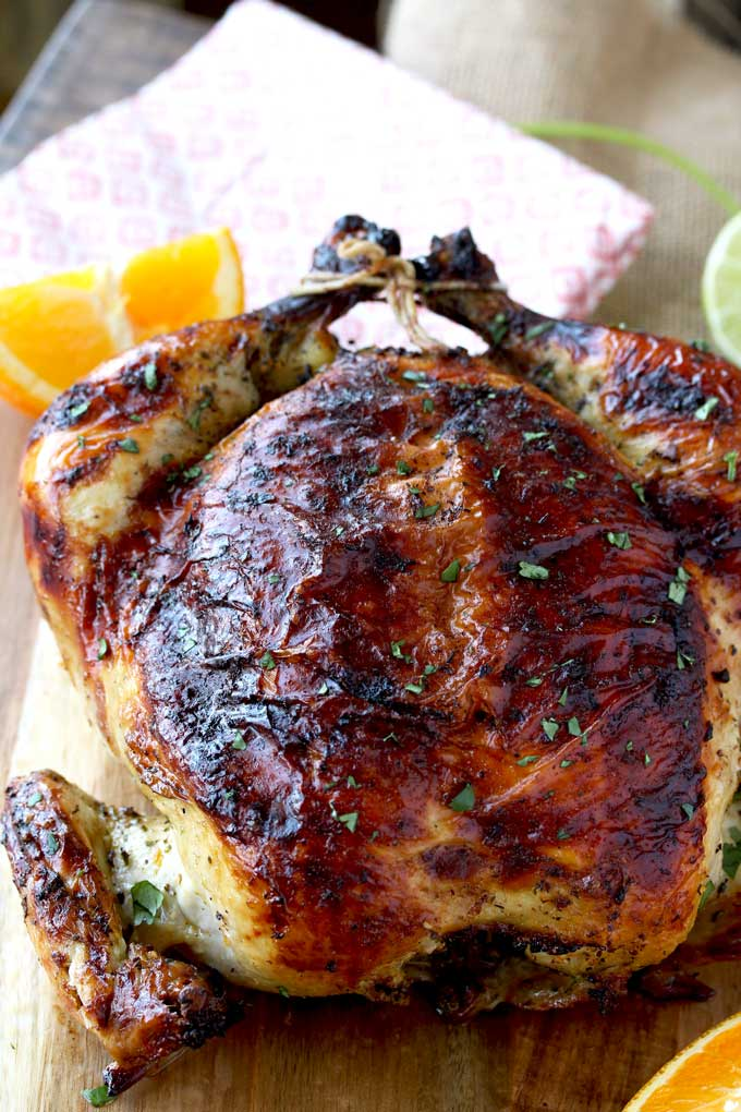 A whole oven roasted Cuban Mojo Chicken.
