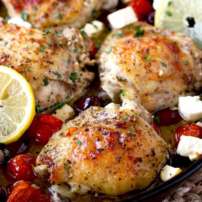 Greek Lemon Oven Roasted Chicken Thighs Lemon Blossoms