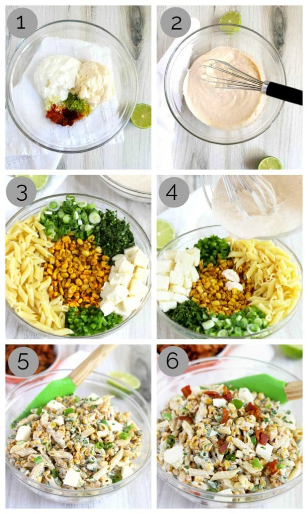 A collage of step by step photos for making this Mexican Street Corn Pasta Salad recipe.