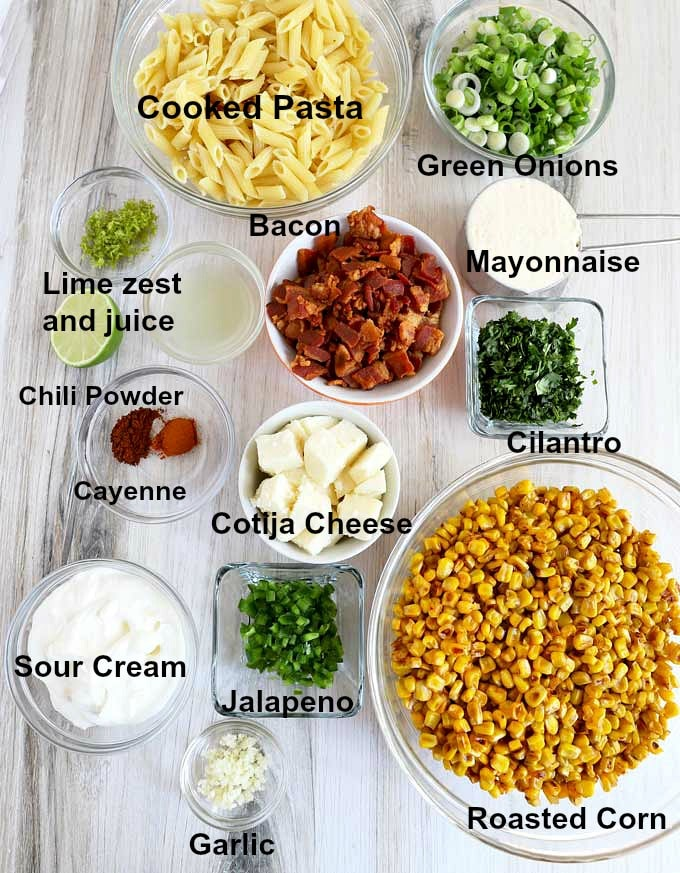 Ingredients to make this pasta salad recipe.