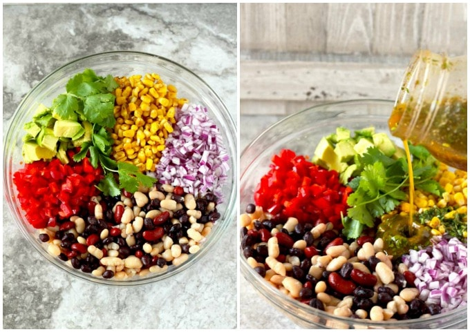Collage of two photos, Salad ingredients in a glass bowl and vinaigrette poured over the salad in the other.