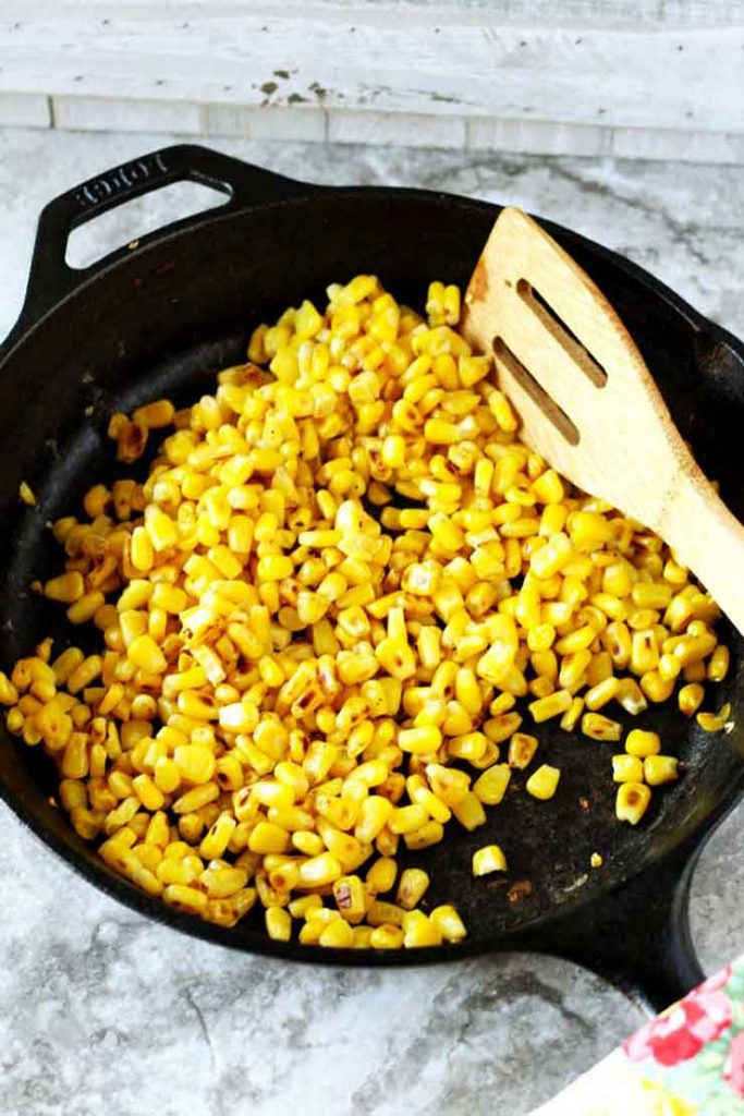 Roasting Corn in a cast iron skillet