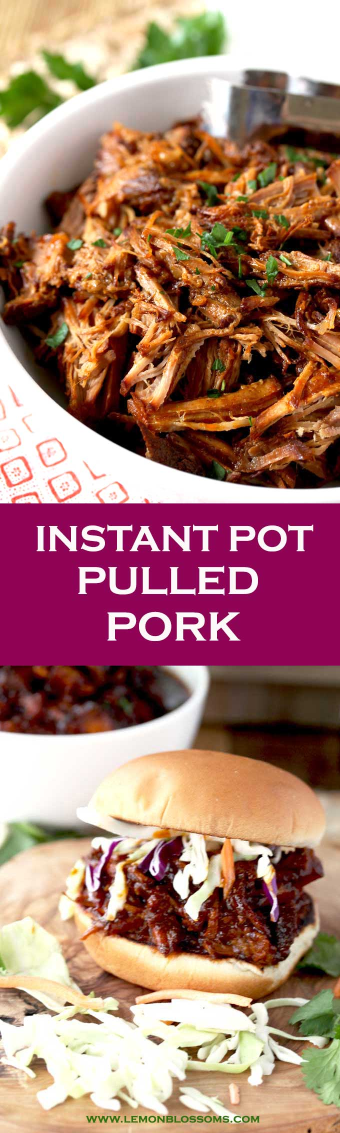 This Instant Pot Pulled Pork is incredibly tender, flavorful, easy and very quick to make with the help of a pressure cooker (Instapot). This BBQ pulled pork recipe is perfect for a weeknight meal, cookouts, summer parties and holidays. #instantpot #pulledpork #recipe #easy #pressurecooker #BBQ