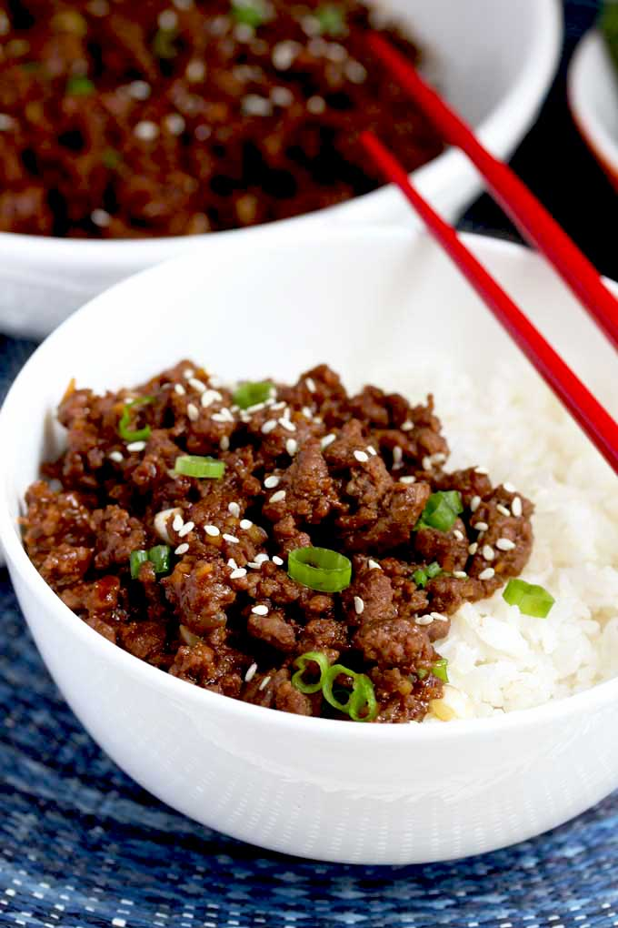 Korean beef on top of white rice.