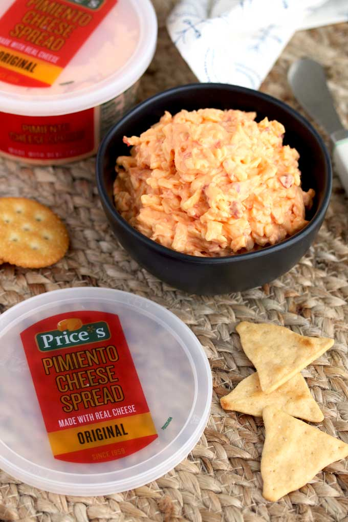 A bowl of Pimento Cheese with crackers