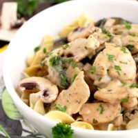 Chicken Stroganoff is made with tender chicken and mushrooms cooked in a creamy and decadent sauce. This Stroganoff recipe takes about 40 minutes to make and it's the perfect comfort food dish for weeknight meals!