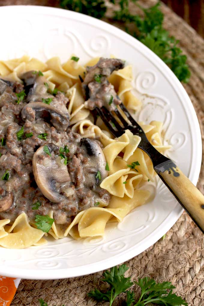 Egg noodles and ground beef stroganoff