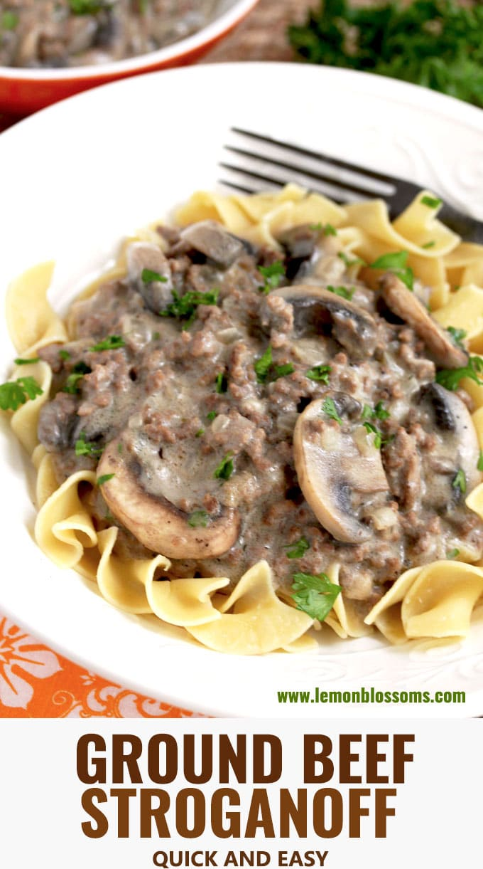 This Ground Beef Stroganoff features lean ground beef and sauteed mushrooms smothered in a creamy mushroom gravy. Thiseasy to make, budget friendly meal is ready in under 30 minutes! Serve it over egg noodles for a fantastic and hearty weeknight meal! #hamburger #recipe #easy #simple #withmushrooms