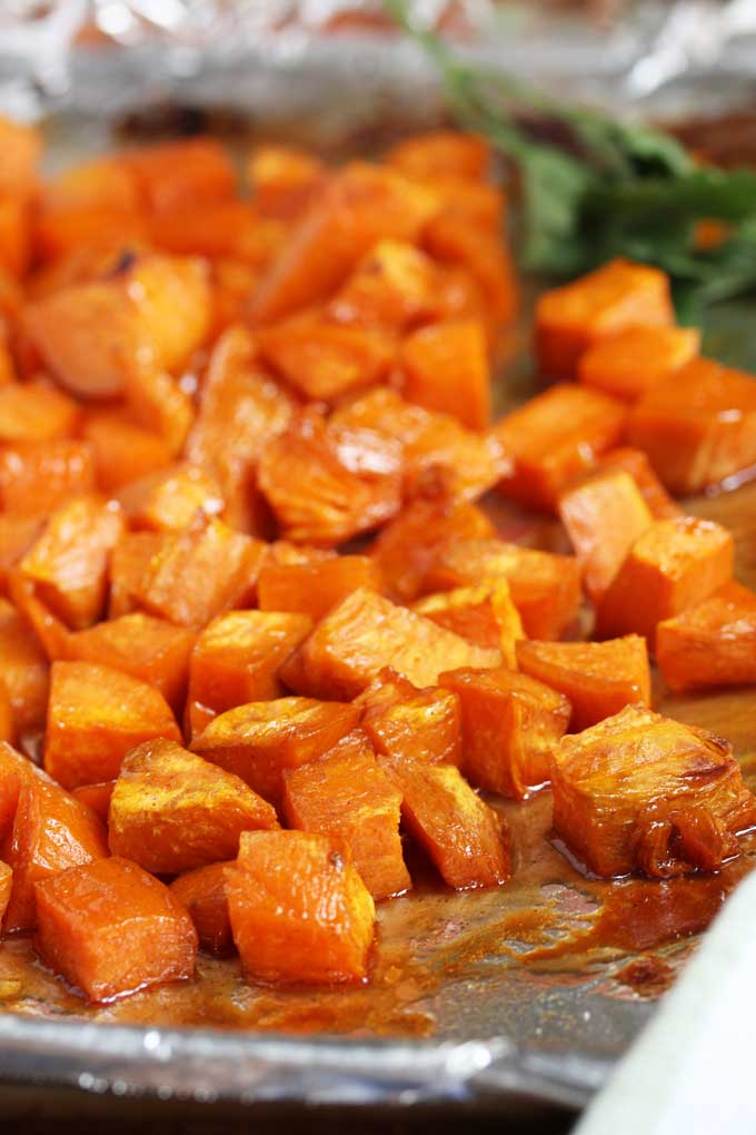 Oven Roasted Sweet Potatoes on a baking sheet.