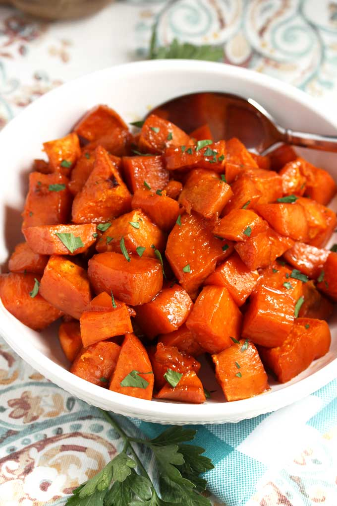 Top view of a bowl of Oven Roasted Sweet Potatoes