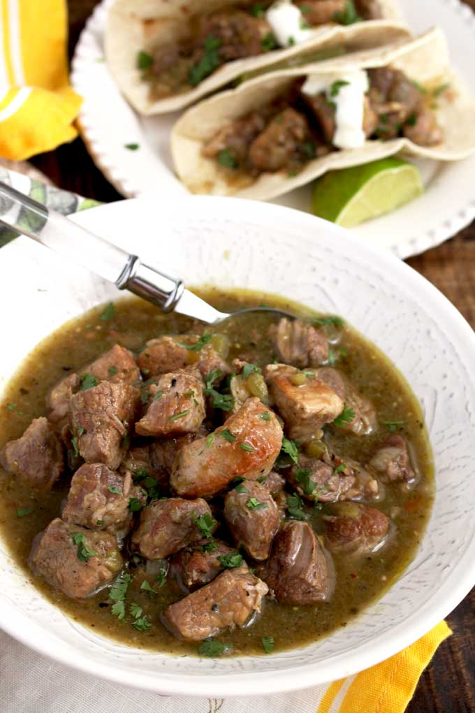 Chile Verde pork in a bowl