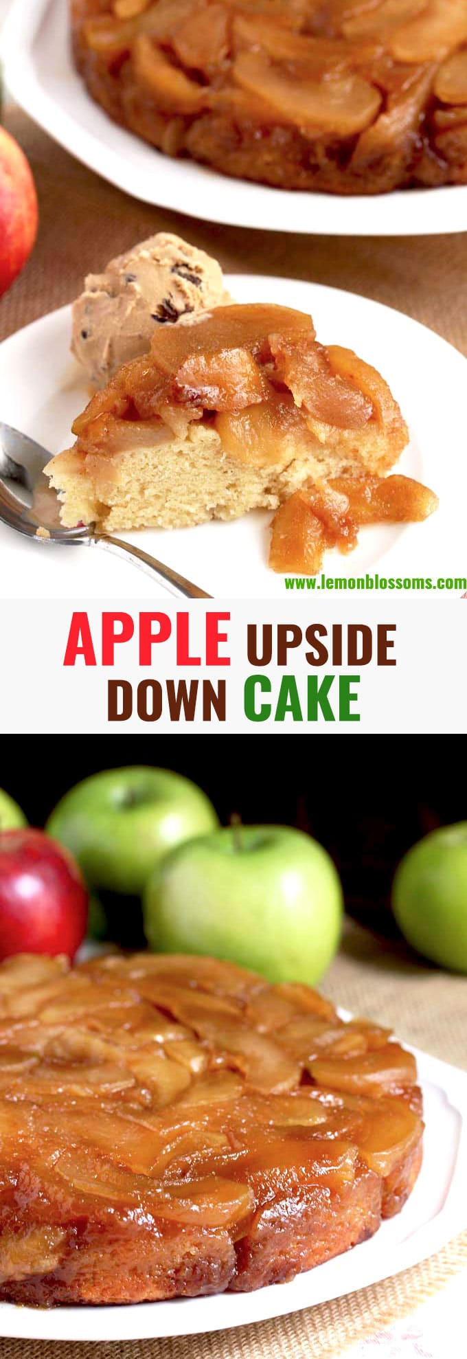Apple Upside Down Cake features a caramelized cinnamon apple topping that is baked right into a light and fluffy vanilla sour cream cake. This Apple Upside Down Cake is a delicious fall dessert that everyone will love. #AppleWeek #dessert #cake #caramel #easy #recipe #cinnamon #best