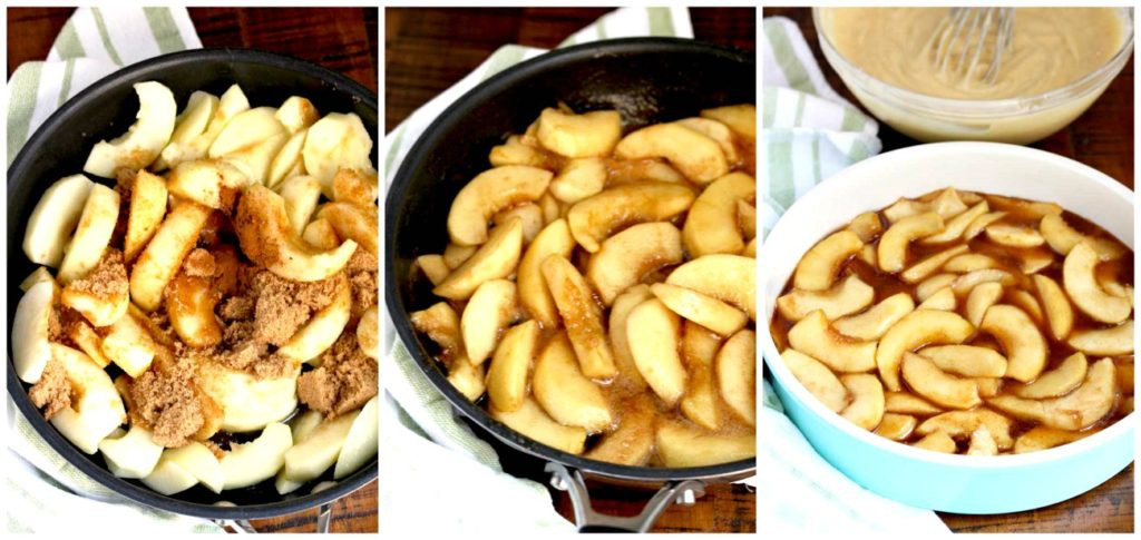 Step by Step Photos for making the cinnamon apple topping.