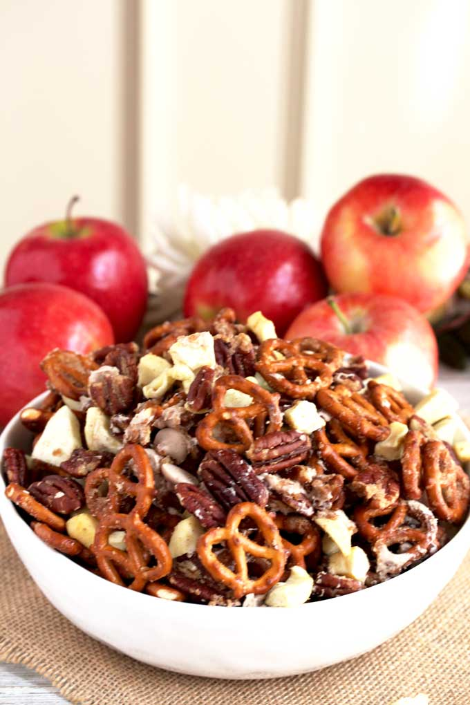Caramel Apple Pie Party Mix in a bowl.