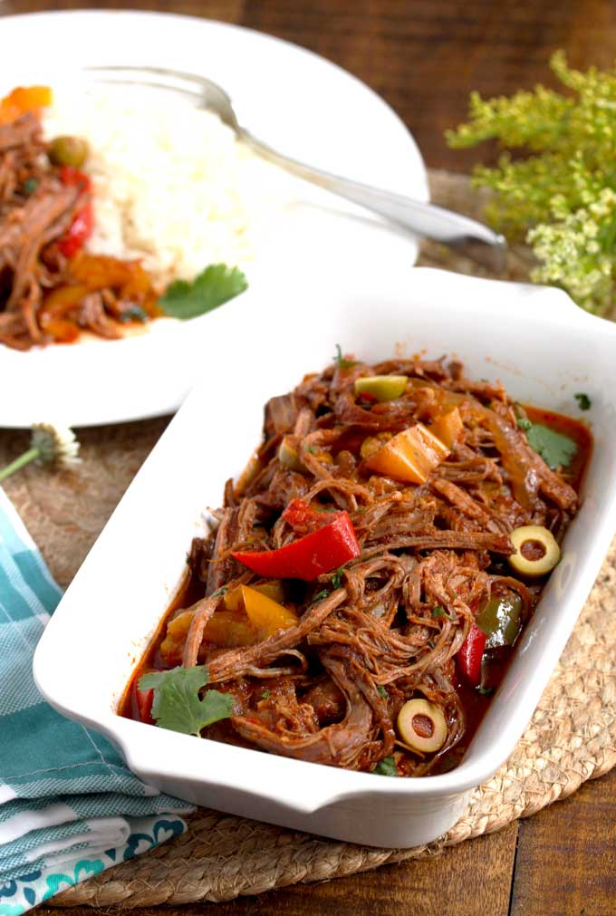 Cuban Ropa Vieja in a serving plate.