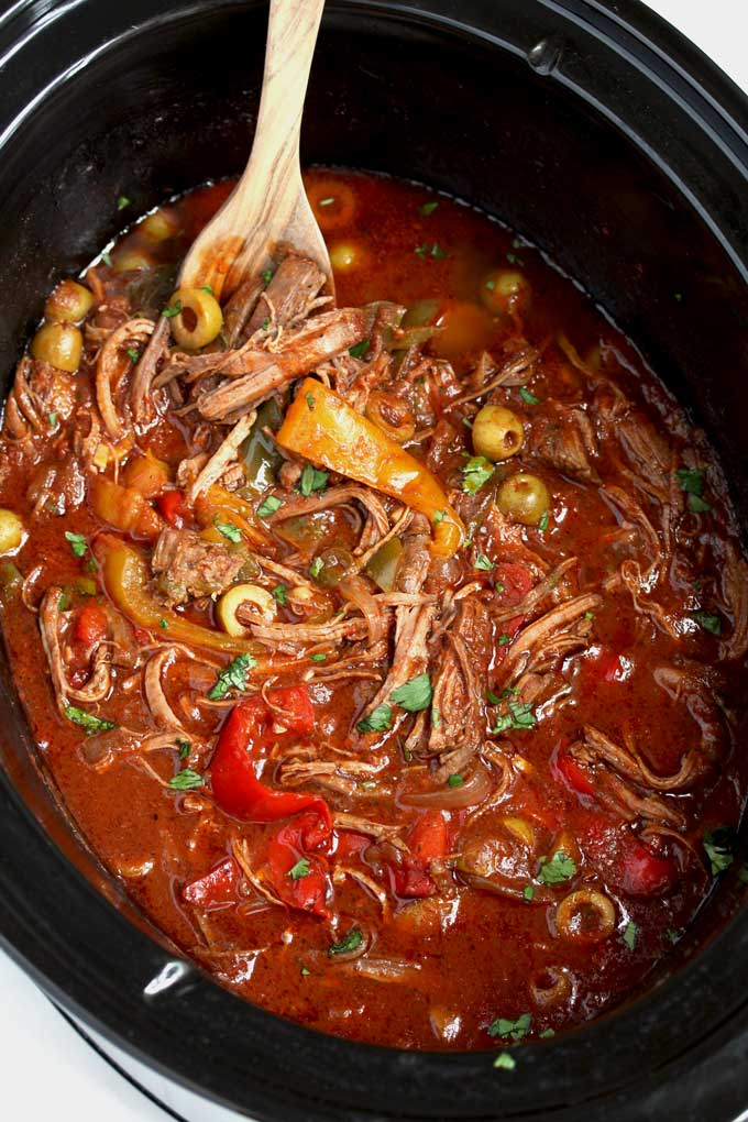 Braised Cuban Ropa Vieja in the slow cooker.