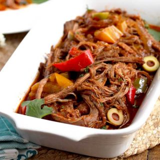 Cuban Ropa Vieja Beef Stew in a serving dish.