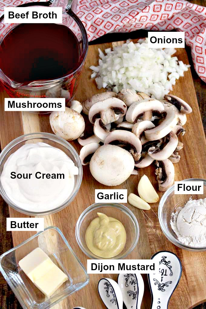 Ingredients to make homemade stroganoff.