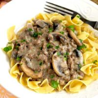 Stroganoff made with hamburger meat on top of noodles.