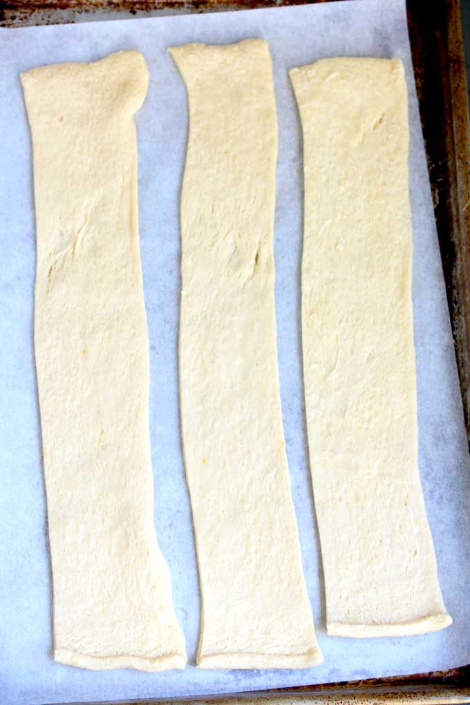 Crescent dough cut into strips.