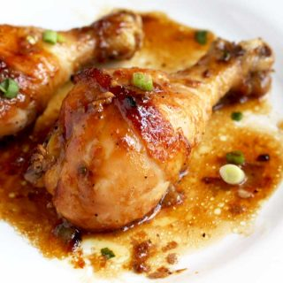 Honey Soy Baked Chicken Drumstick on a white plate.