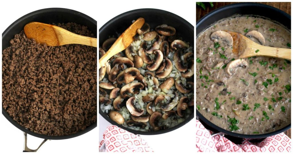 Step by step photos of how to make stroganoff with hamburger meat.