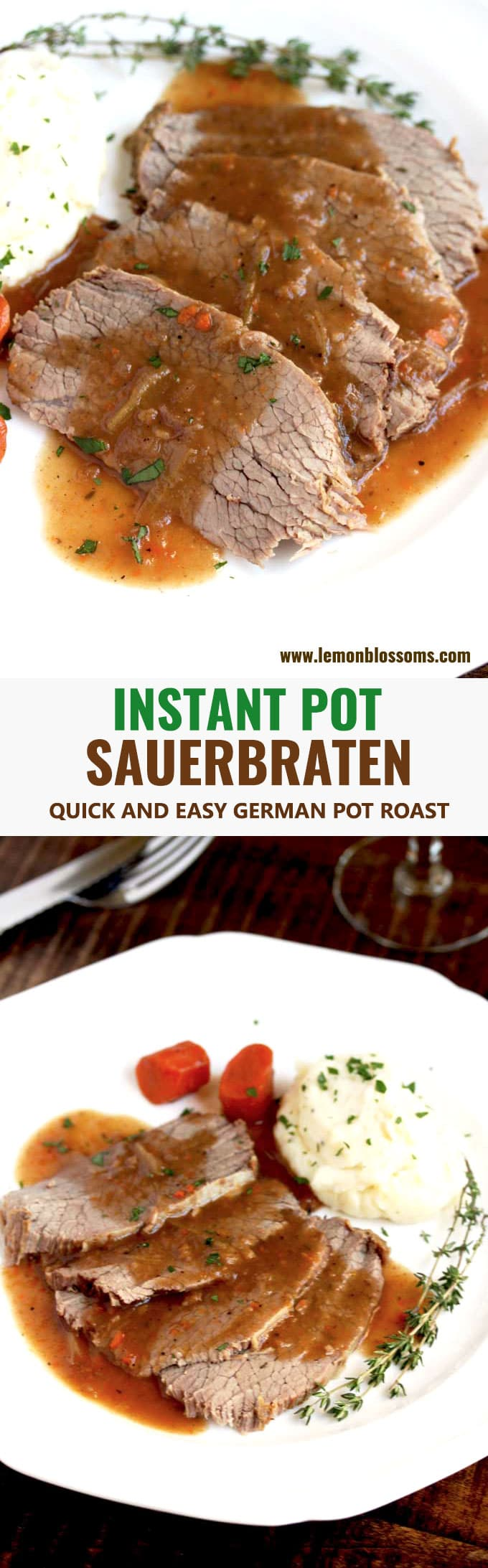 This Sauerbraten recipe is made quickly in the pressure cooker. Enjoy the robust flavors of this traditional German Pot Roast without having to marinade the meat for days! Your instant pot seals in the flavor in a fraction of the time! #recipe #Oktoberfest #German #instantpot #Quick