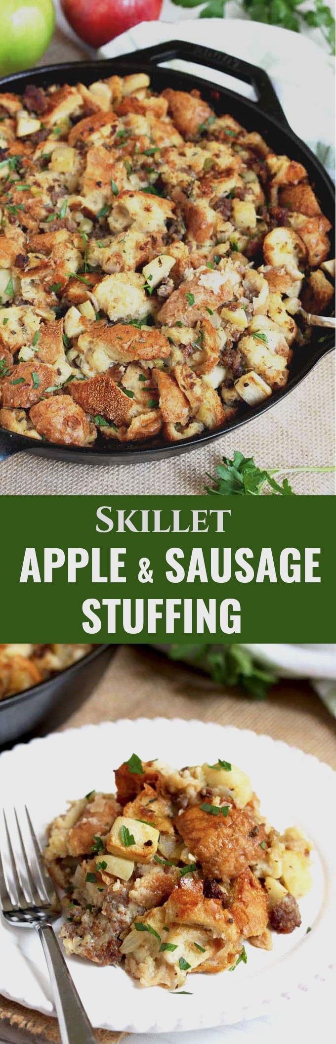 This Apple and Sausage Stuffing recipe is incredibly tasty and easily made in one skillet. Loaded with apples, sausage and fresh herbs, this Thanksgiving dressing is sure to become a family favorite! #appleweek #sidedish #sausage #thanksgiving #sponsored