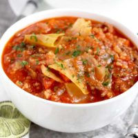 This Cabbage Roll Soup is loaded with ground beef, vegetables and rice in a savory tomato broth. Enjoy the flavors of Stuffed Cabbage Rolls without all the work!