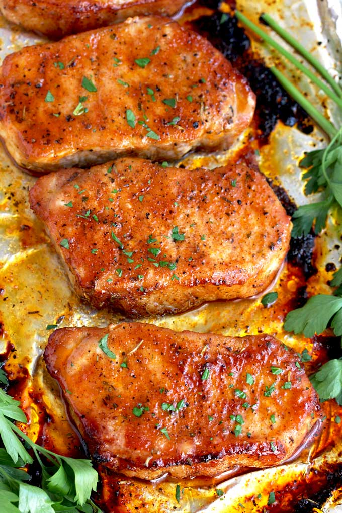 Oven Baked Pork Chops on a sheet pan.