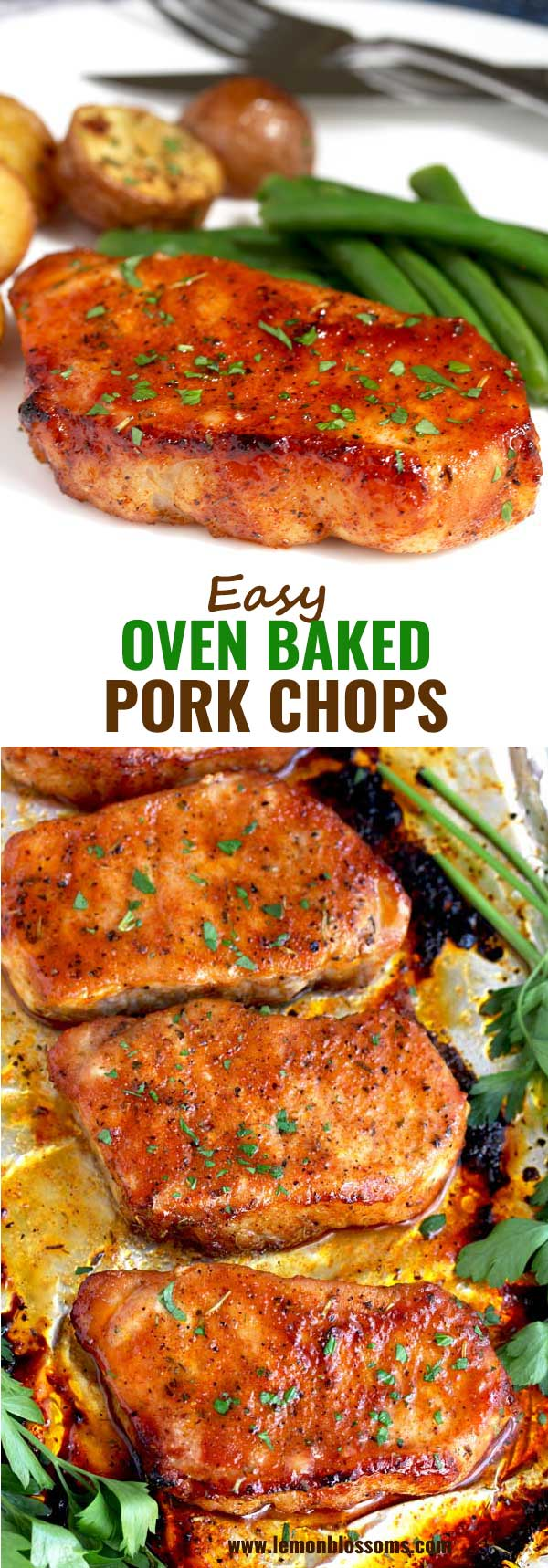 These Oven Baked Pork Chops are seasoned with simple spices and then baked to perfection. This baked pork chop recipe produces succulent, tender, juicy and flavorful pork chops every time! #baked #intheoven #easy #recipe #brownsugar