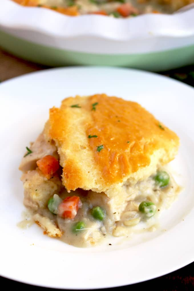 A serving of Turkey Pot Pie on a white plate.