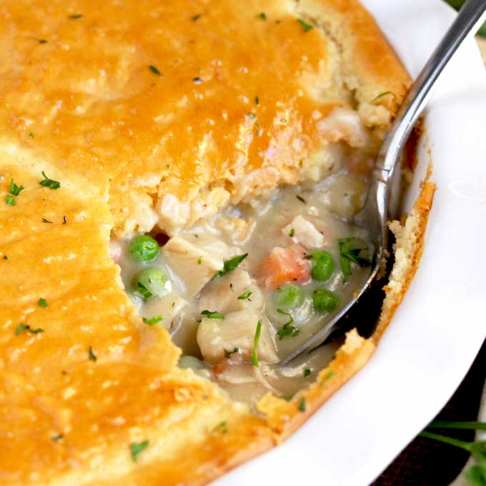 Turkey Pot Pie With Biscuit Topping Lemon Blossoms