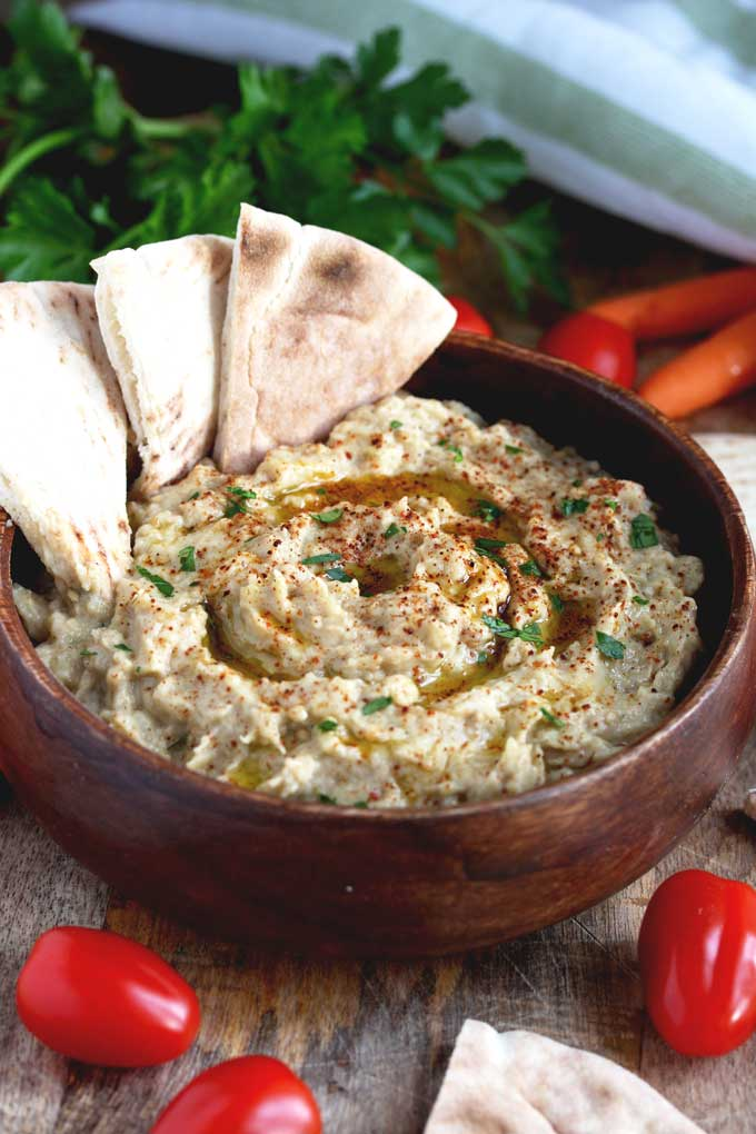 Baba Ganoush in a small wooden bowl.