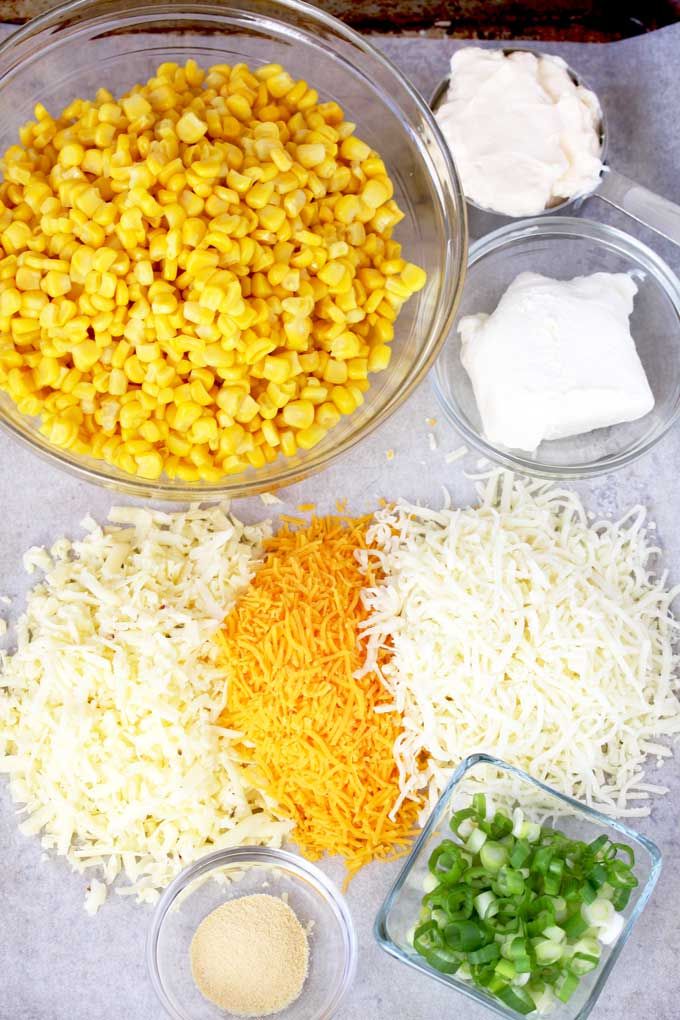 Ingredients to make corn dip.