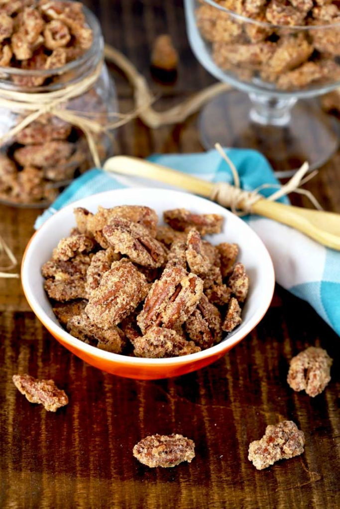 Candied pecans set on different bowls.