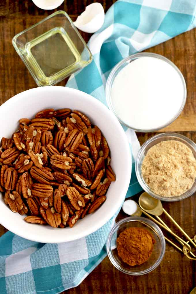 Ingredients to make candied pecans.