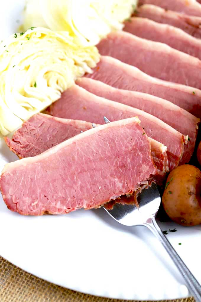 Close Up view of a sliced of corned beef.