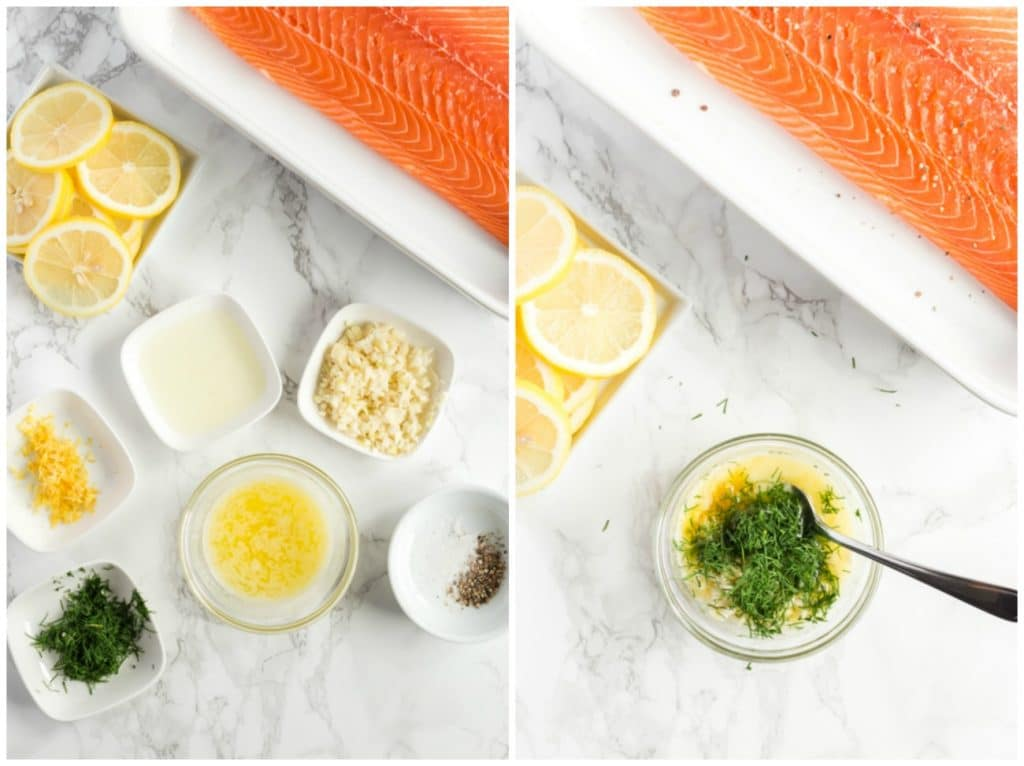 A collage of two photos on how to make this salmon recipe. All ingredients gathered and flavored butter getting mixed in a small bowl