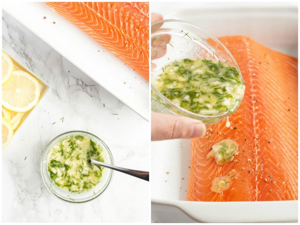 Collage of photos on how to prepare this recipe. Flavored butter in a small bowl and flavored butter been poured on the salmon.