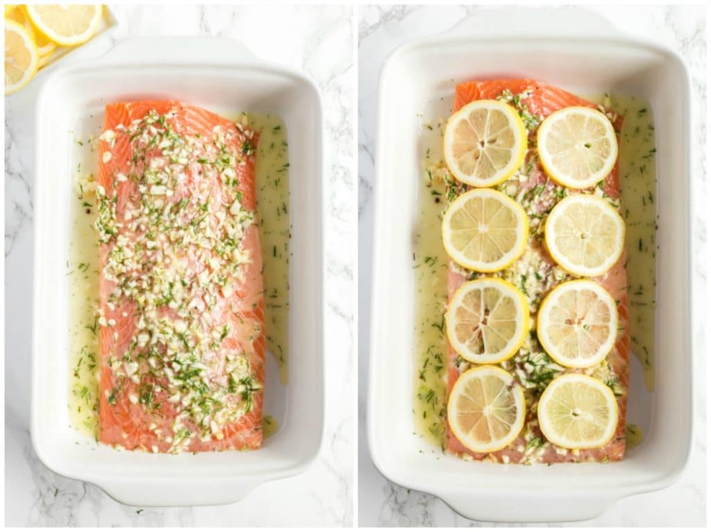 Collage of photos of step by step directions on how to make this easy baked recipe. Salmon in a baking dish covered in flavored butter and another one of the fish topped with lemon slices.