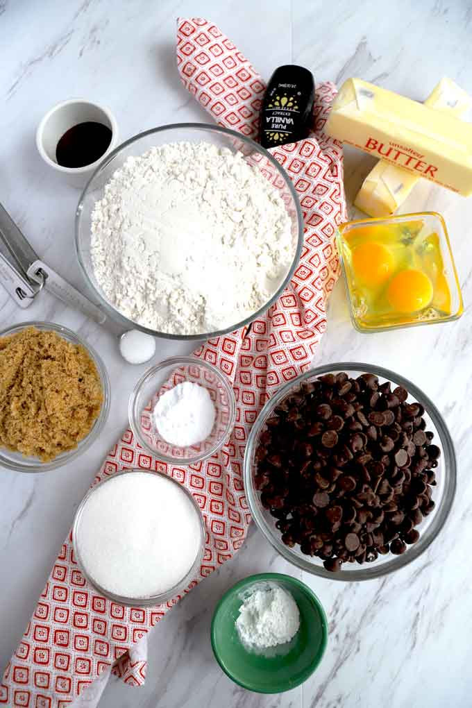 Skillet Cookie ingredients on a light counter.
