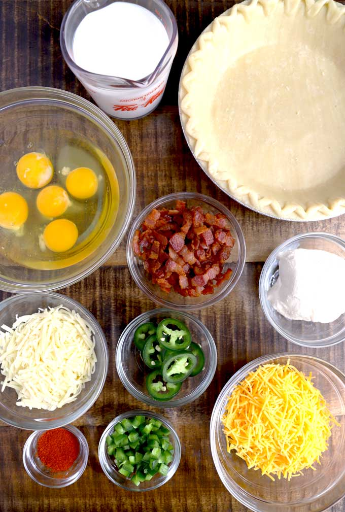 Ingredients to make Jalapeno Popper Quiche recipe