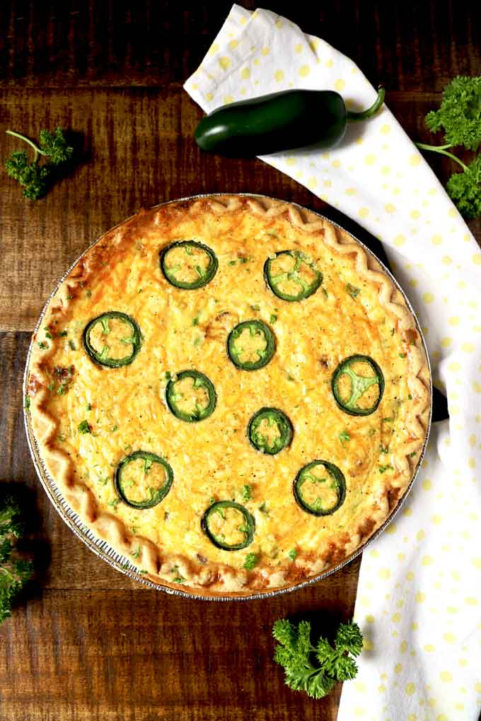 Top view of a whole Jalapeno Popper Quiche.