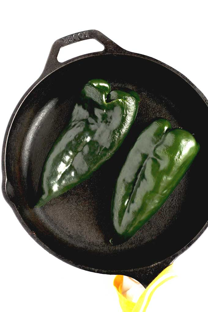 Green Poblano Peppers in a skillet