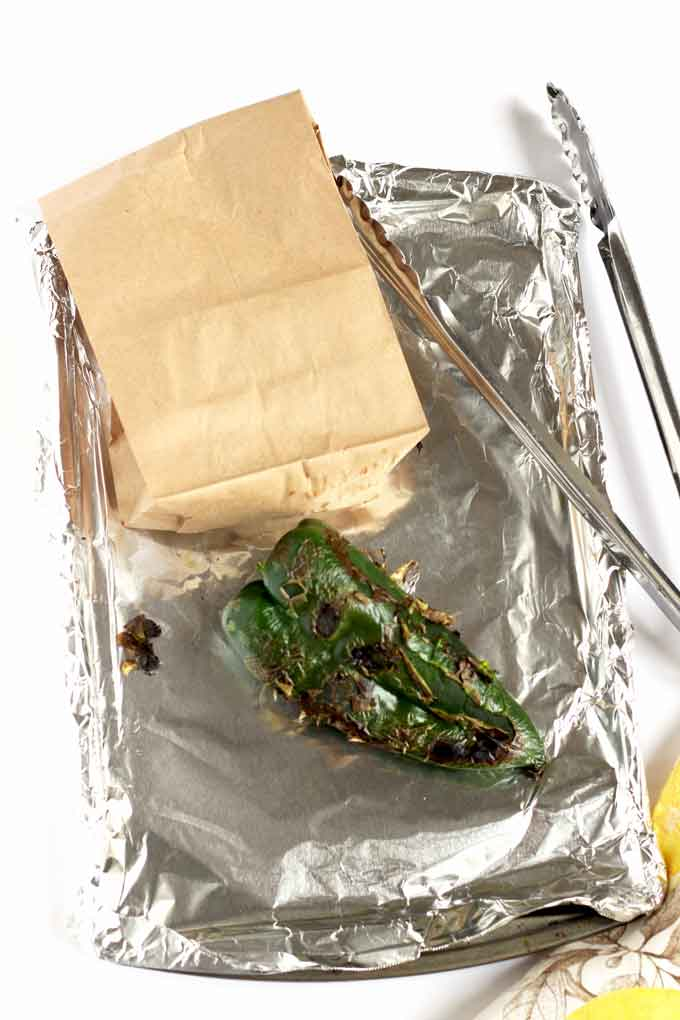 Steaming peppers in a paper bag