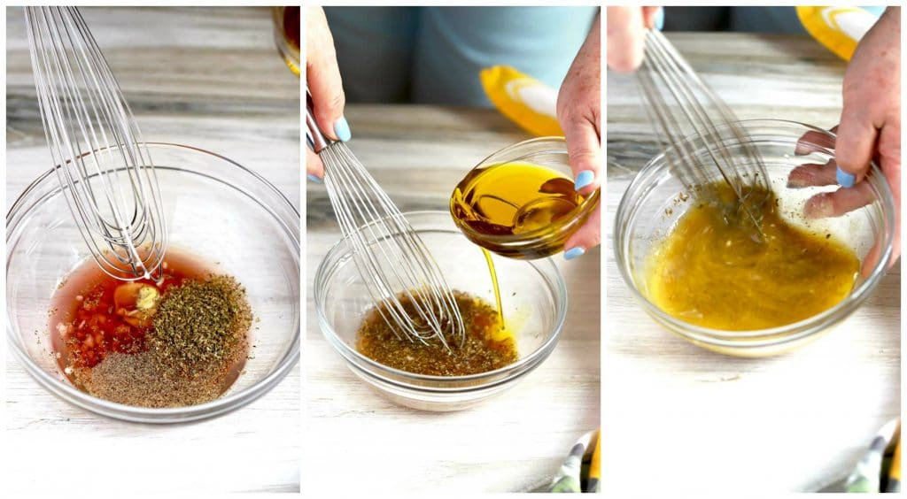 Collage of photos showing how to make the salad dressing