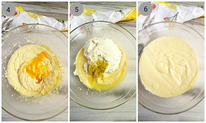 Step By Step Instructions, Bowl with creamed butter and sugar mixed with eggs, bowls with creamed butter and sugar, topped with ricotta, lemon zest and juice.